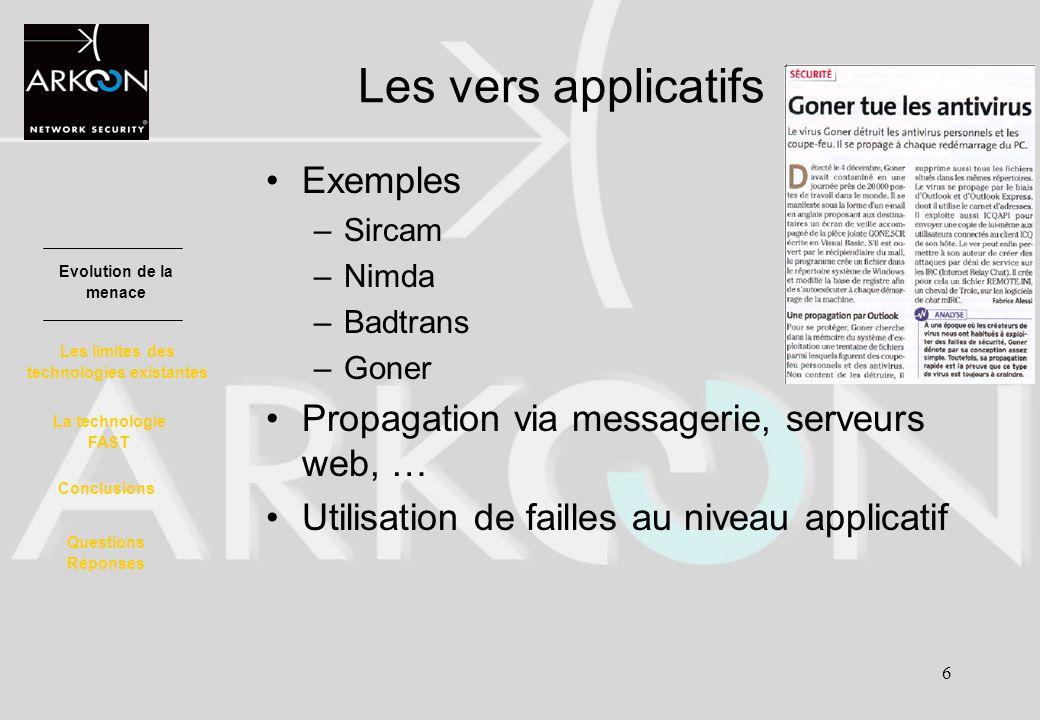 6 Exemples –Sircam –Nimda –Badtrans –Goner Propagation via messagerie, serveurs web, … Utilisation de failles au niveau applicatif Evolution de la men
