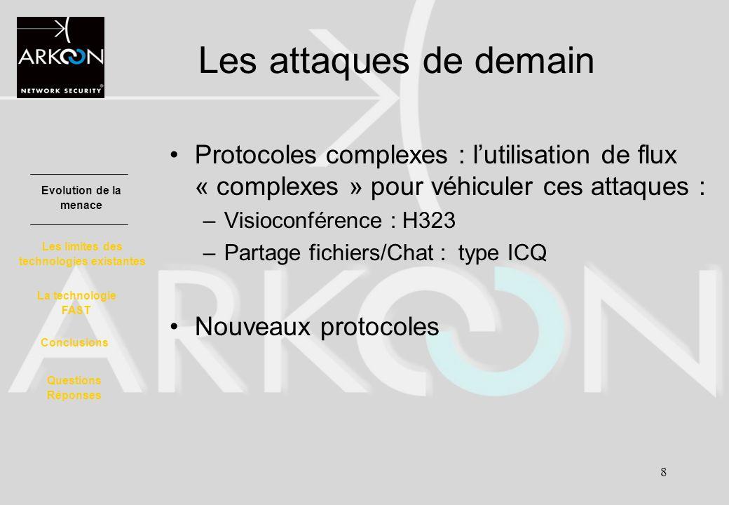 8 Les attaques de demain Protocoles complexes : lutilisation de flux « complexes » pour véhiculer ces attaques : –Visioconférence : H323 –Partage fich