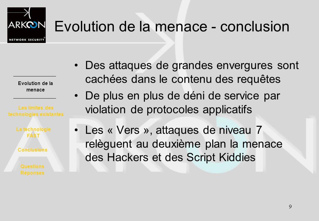 9 Evolution de la menace - conclusion Des attaques de grandes envergures sont cachées dans le contenu des requêtes De plus en plus de déni de service