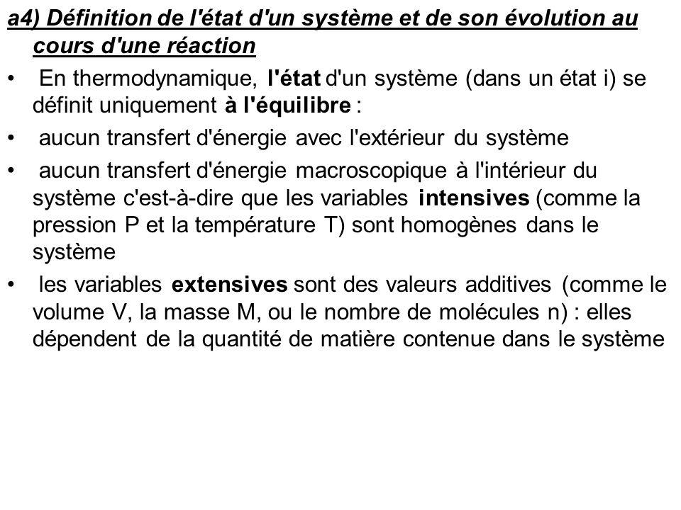 a4) Définition de l'état d'un système et de son évolution au cours d'une réaction En thermodynamique, l'état d'un système (dans un état i) se définit