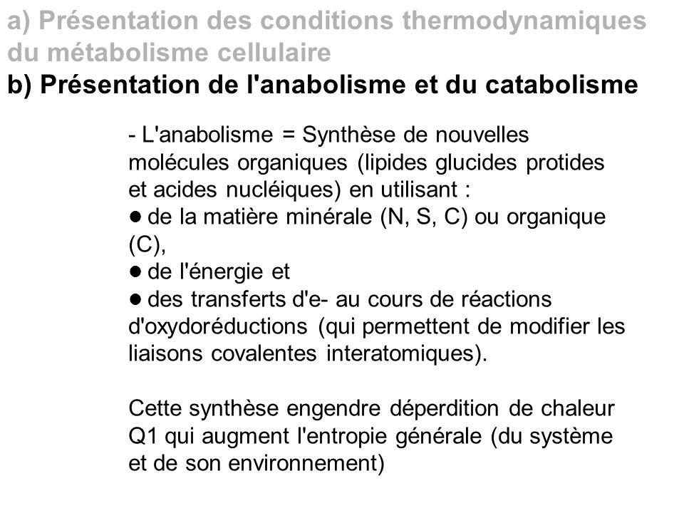 a) Présentation des conditions thermodynamiques du métabolisme cellulaire b) Présentation de l'anabolisme et du catabolisme - L'anabolisme = Synthèse