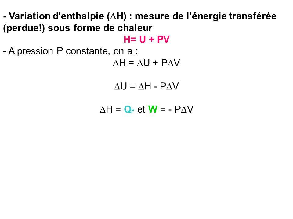 - Variation d'enthalpie ( H) : mesure de l'énergie transférée (perdue!) sous forme de chaleur H= U + PV - A pression P constante, on a : H = U + P V U