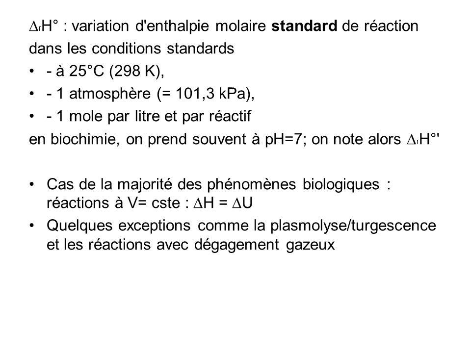 r H° : variation d'enthalpie molaire standard de réaction dans les conditions standards - à 25°C (298 K), - 1 atmosphère (= 101,3 kPa), - 1 mole par l