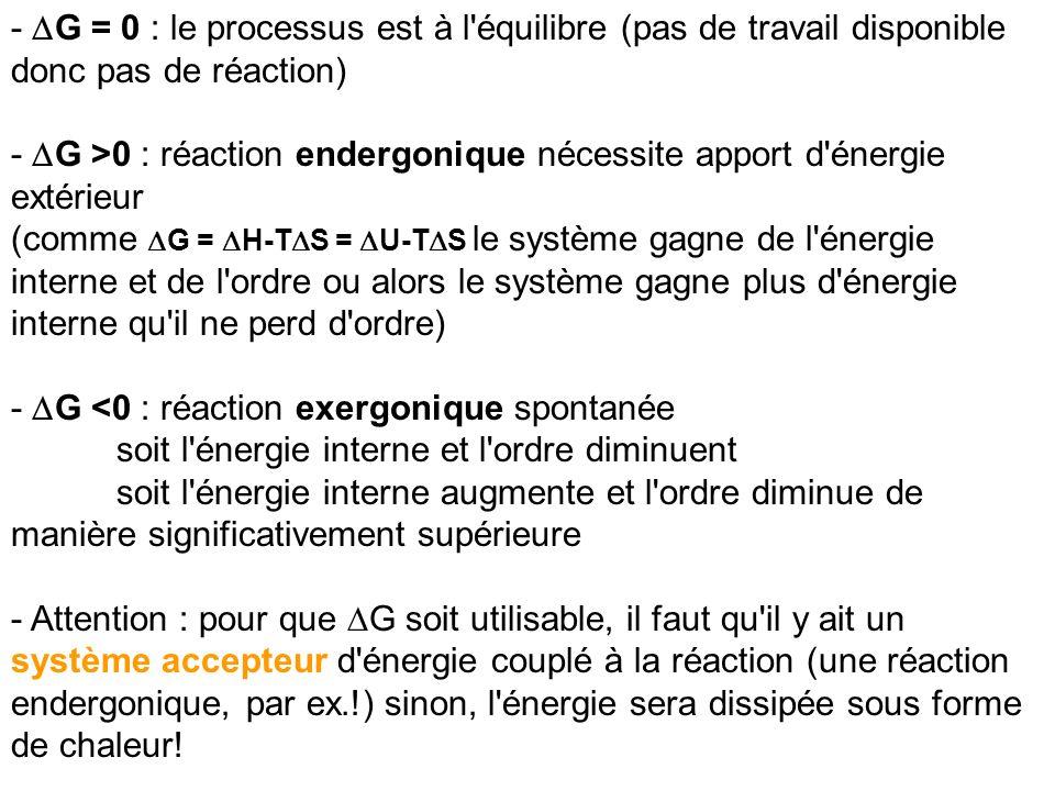 - G = 0 : le processus est à l'équilibre (pas de travail disponible donc pas de réaction) - G >0 : réaction endergonique nécessite apport d'énergie ex