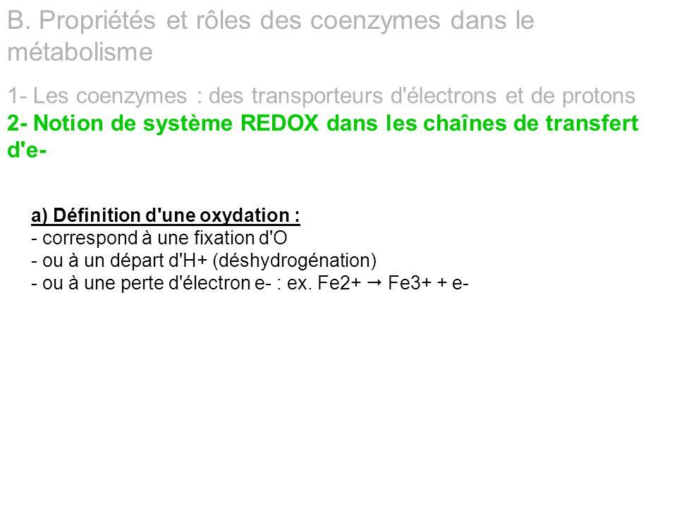 1- Les coenzymes : des transporteurs d'électrons et de protons 2- Notion de système REDOX dans les chaînes de transfert d'e- B. Propriétés et rôles de