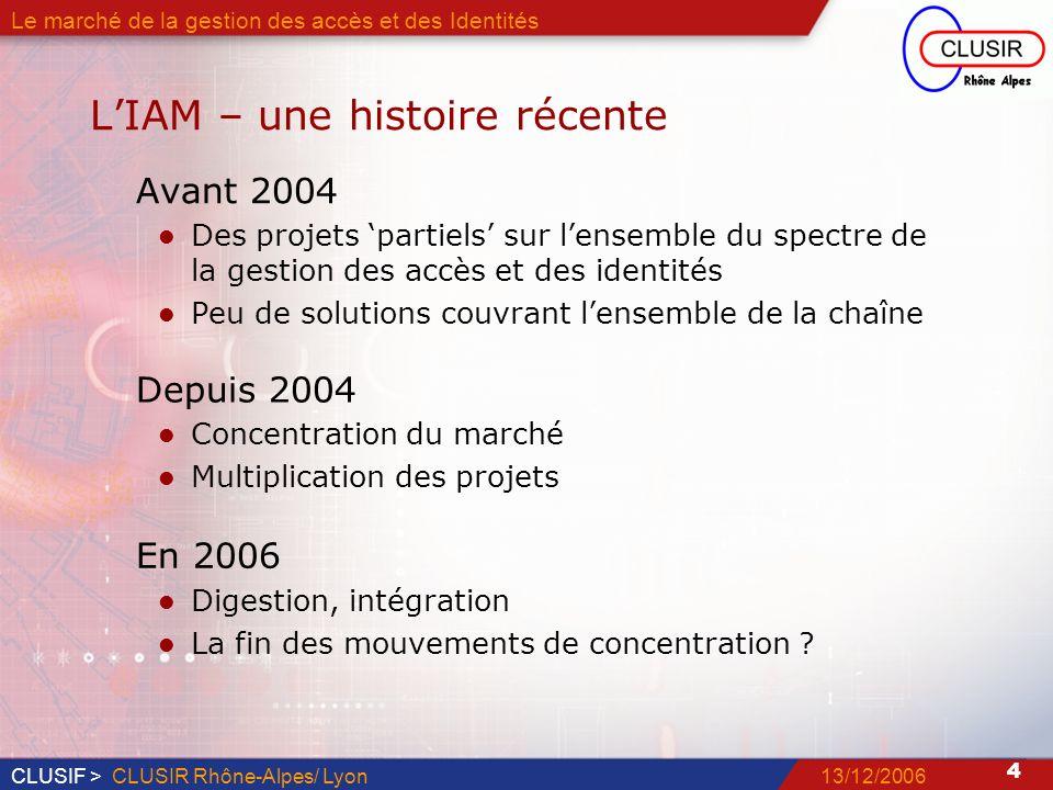 CLUSIF > 5 13/12/2006CLUSIR Rhône-Alpes/ Lyon Le marché de la gestion des accès et des Identités LIAM – plus que jamais ….