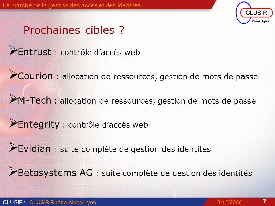 CLUSIF > 7 13/12/2006CLUSIR Rhône-Alpes/ Lyon Le marché de la gestion des accès et des Identités Prochaines cibles .