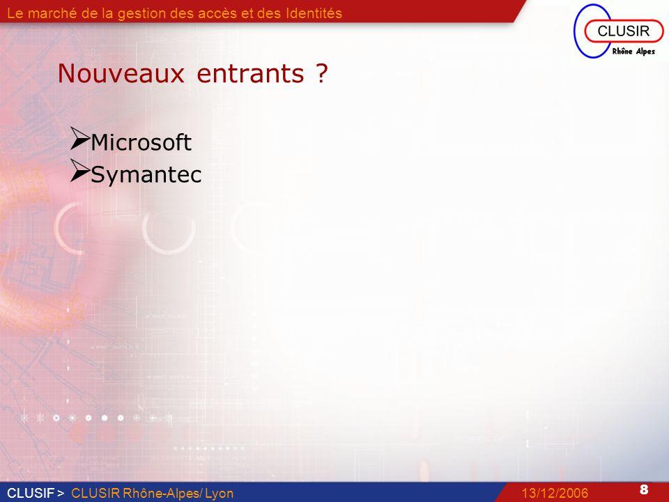CLUSIF > 9 13/12/2006CLUSIR Rhône-Alpes/ Lyon Le marché de la gestion des accès et des Identités Et demain Bilan 2006 Quelle place va prendre Microsoft Retour dexpérience sur la fédération didentités Quels types de projets, pour quels usages .