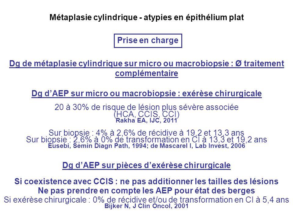 Prise en charge Dg dAEP sur micro ou macrobiopsie : exérèse chirurgicale 20 à 30% de risque de lésion plus sévère associée (HCA, CCIS, CCI) Dg dAEP sur pièces dexérèse chirurgicale Si coexistence avec CCIS : ne pas additionner les tailles des lésions Ne pas prendre en compte les AEP pour état des berges Dg de métaplasie cylindrique sur micro ou macrobiopsie : Ø traitement complémentaire Si exérèse chirurgicale : 0% de récidive et/ou de transformation en CI à 5,4 ans Bijker N, J Clin Oncol, 2001 Sur biopsie : 4% à 2,6% de récidive à 19,2 et 13,3 ans Sur biopsie : 2,6% à 0% de transformation en CI à 13,3 et 19,2 ans Eusebi, Semin Diagn Path, 1994; de Mascarel I, Lab Invest, 2006 Rakha EA, IJC, 2011
