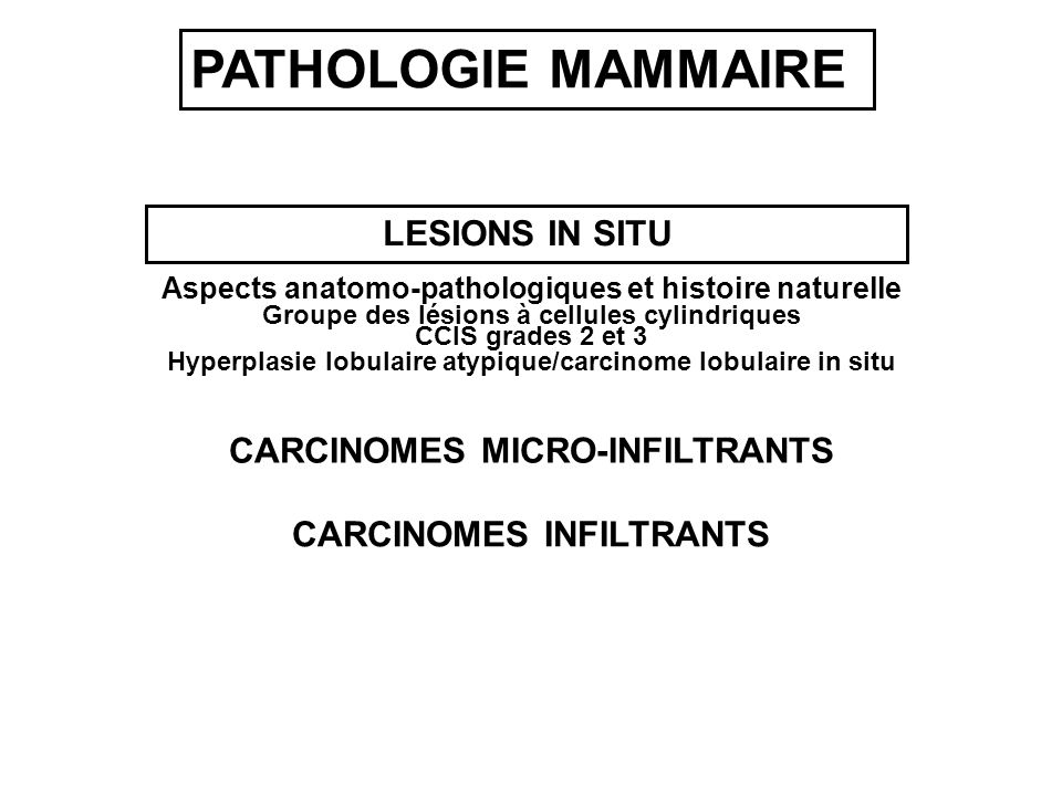 LESIONS IN SITU CARCINOMES INFILTRANTS Aspects anatomo-pathologiques et histoire naturelle Groupe des lésions à cellules cylindriques CCIS grades 2 et 3 Hyperplasie lobulaire atypique/carcinome lobulaire in situ CARCINOMES MICRO-INFILTRANTS PATHOLOGIE MAMMAIRE
