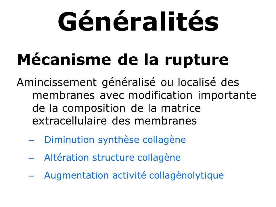 Généralités Mécanisme de la rupture Amincissement généralisé ou localisé des membranes avec modification importante de la composition de la matrice ex