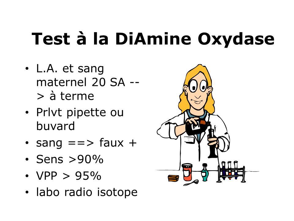 Test à la DiAmine Oxydase L.A. et sang maternel 20 SA -- > à terme Prlvt pipette ou buvard sang ==> faux + Sens >90% VPP > 95% labo radio isotope