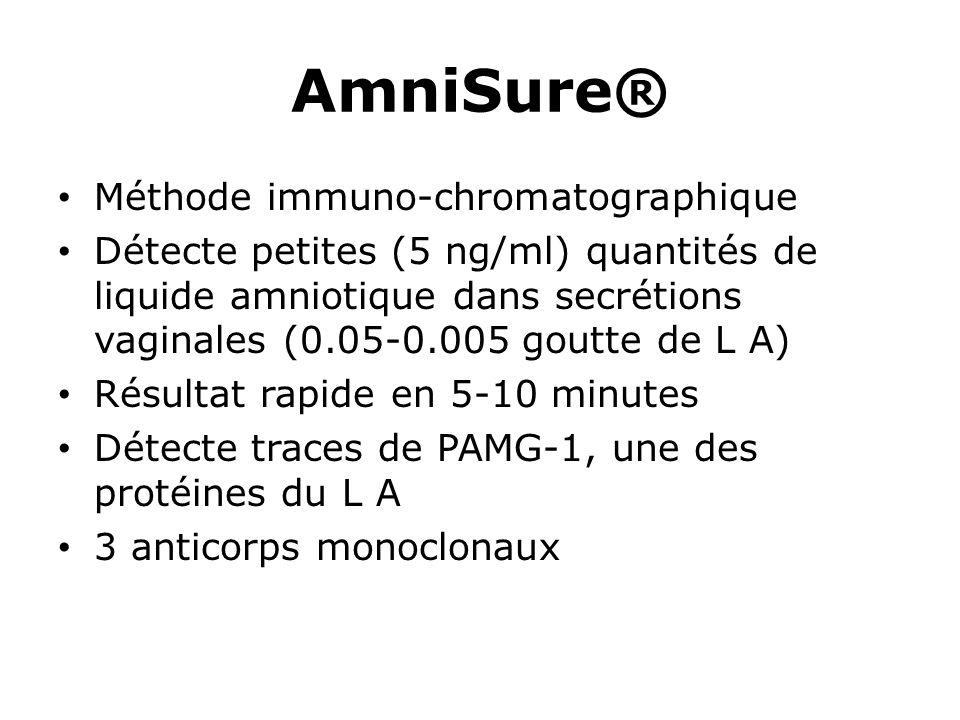 AmniSure® Méthode immuno-chromatographique Détecte petites (5 ng/ml) quantités de liquide amniotique dans secrétions vaginales (0.05-0.005 goutte de L