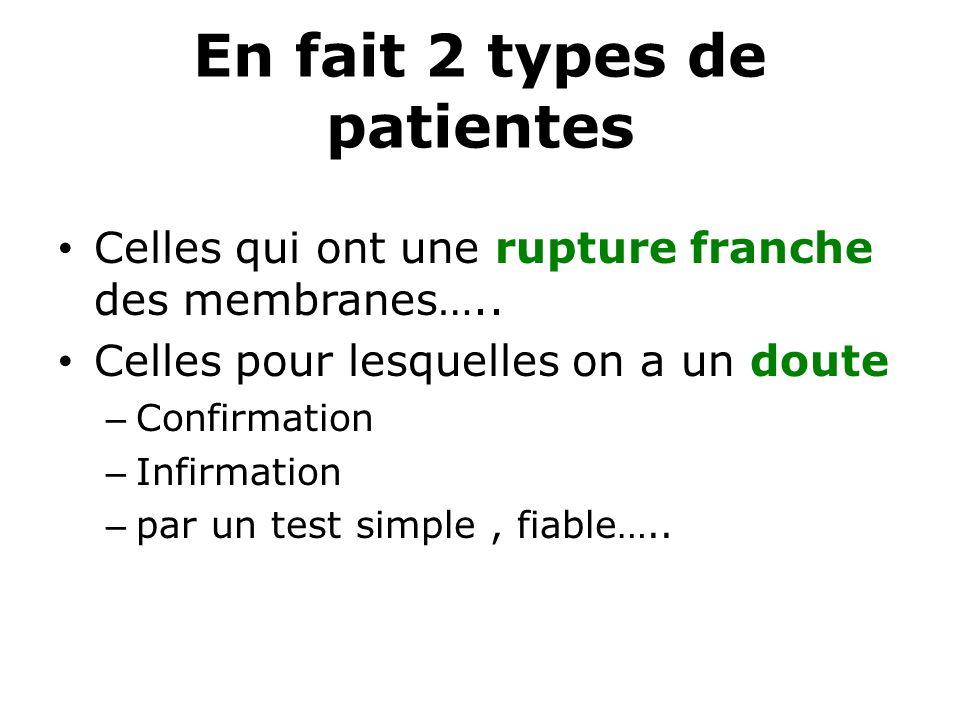 En fait 2 types de patientes Celles qui ont une rupture franche des membranes….. Celles pour lesquelles on a un doute – Confirmation – Infirmation – p