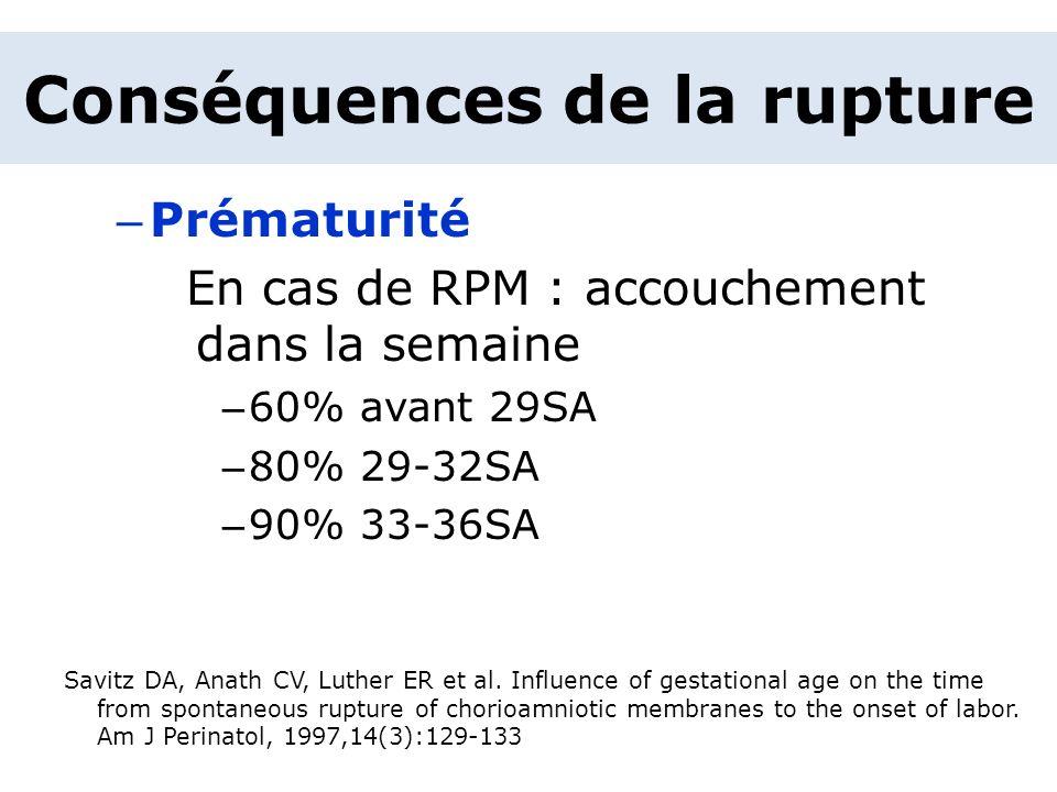 – Prématurité En cas de RPM : accouchement dans la semaine – 60% avant 29SA – 80% 29-32SA – 90% 33-36SA Savitz DA, Anath CV, Luther ER et al. Influenc