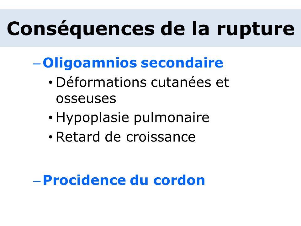 – Oligoamnios secondaire Déformations cutanées et osseuses Hypoplasie pulmonaire Retard de croissance – Procidence du cordon Conséquences de la ruptur