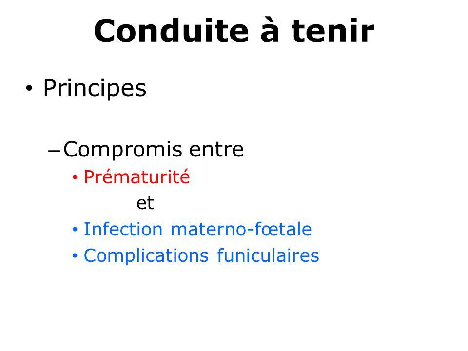 Conduite à tenir Principes – Compromis entre Prématurité et Infection materno-fœtale Complications funiculaires