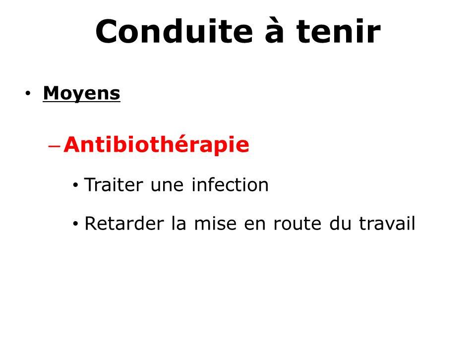 Conduite à tenir Moyens – Antibiothérapie Traiter une infection Retarder la mise en route du travail