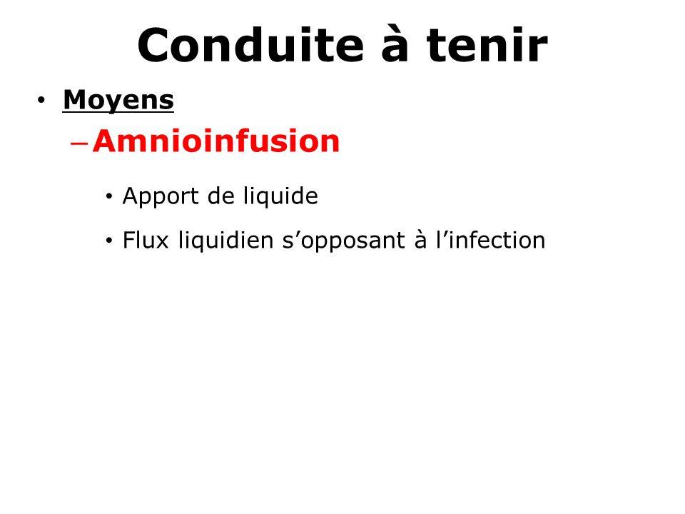 Conduite à tenir Moyens – Amnioinfusion Apport de liquide Flux liquidien sopposant à linfection