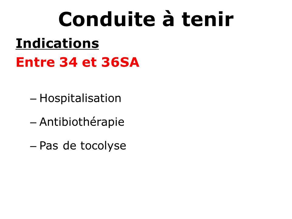 Conduite à tenir Indications Entre 34 et 36SA – Hospitalisation – Antibiothérapie – Pas de tocolyse