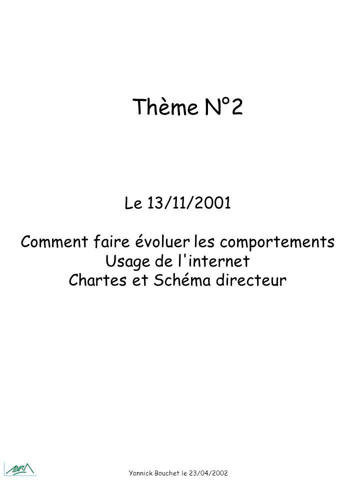 Yannick Bouchet le 23/04/2002 Le 13/11/2001 Comment faire évoluer les comportements Usage de l internet Chartes et Schéma directeur Thème N°2