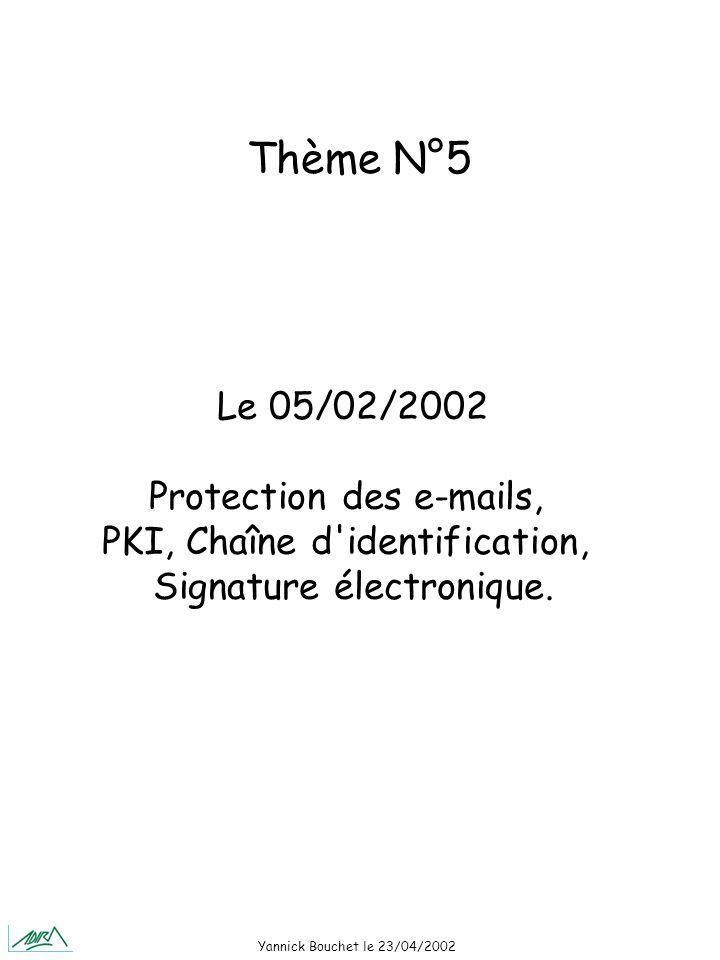 Yannick Bouchet le 23/04/2002 Le 05/02/2002 Protection des e-mails, PKI, Chaîne d identification, Signature électronique.