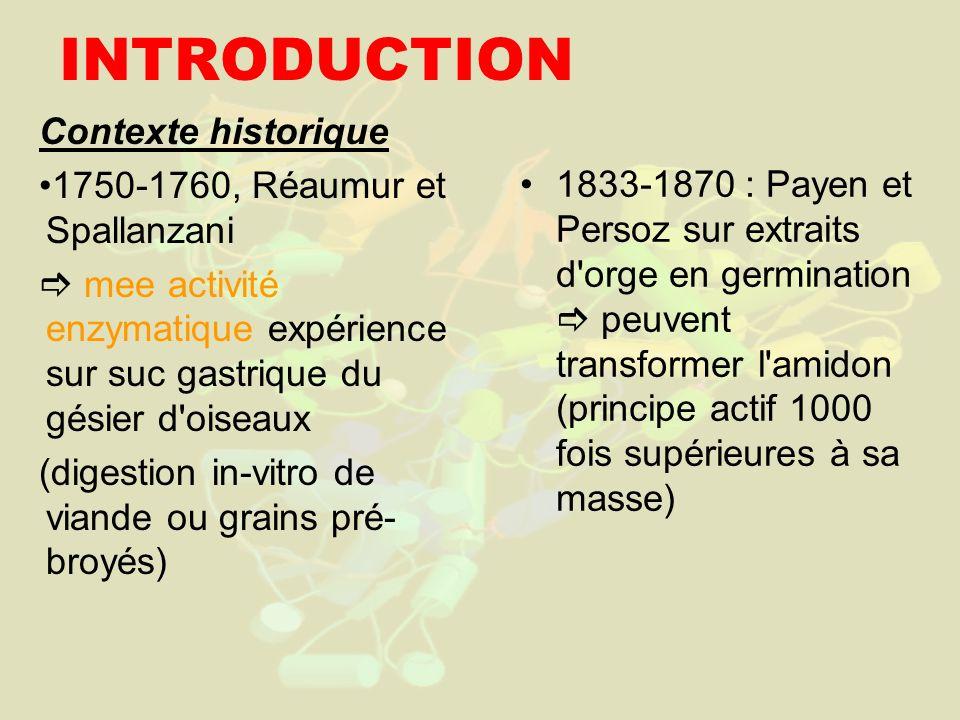 INTRODUCTION Contexte historique 1750-1760, Réaumur et Spallanzani mee activité enzymatique expérience sur suc gastrique du gésier d'oiseaux (digestio