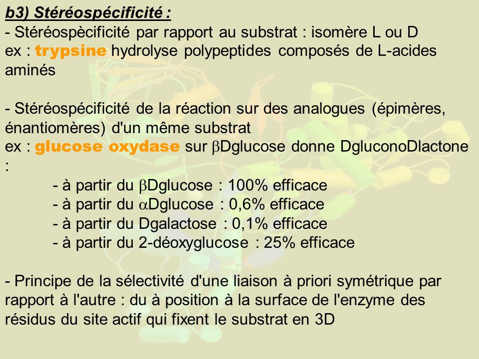 b3) Stéréospécificité : - Stéréospècificité par rapport au substrat : isomère L ou D ex : trypsine hydrolyse polypeptides composés de L-acides aminés - Stéréospécificité de la réaction sur des analogues (épimères, énantiomères) d un même substrat ex : glucose oxydase sur Dglucose donne DgluconoDlactone : - à partir du Dglucose : 100% efficace - à partir du Dglucose : 0,6% efficace - à partir du Dgalactose : 0,1% efficace - à partir du 2-déoxyglucose : 25% efficace - Principe de la sélectivité d une liaison à priori symétrique par rapport à l autre : du à position à la surface de l enzyme des résidus du site actif qui fixent le substrat en 3D