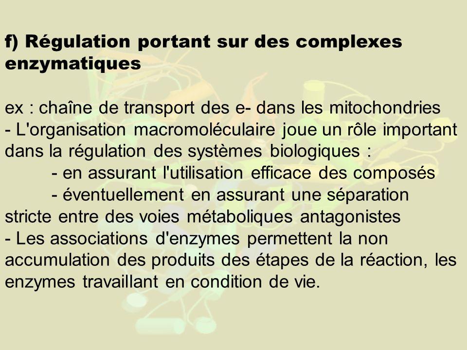 f) Régulation portant sur des complexes enzymatiques ex : chaîne de transport des e- dans les mitochondries - L'organisation macromoléculaire joue un