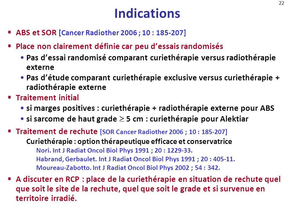 22 Indications ABS et SOR [Cancer Radiother 2006 ; 10 : 185-207] Place non clairement définie car peu dessais randomisés Pas dessai randomisé comparan