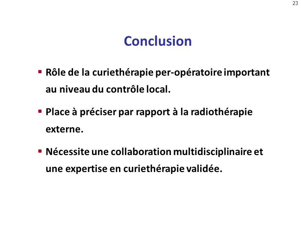 23 Rôle de la curiethérapie per-opératoire important au niveau du contrôle local. Place à préciser par rapport à la radiothérapie externe. Nécessite u