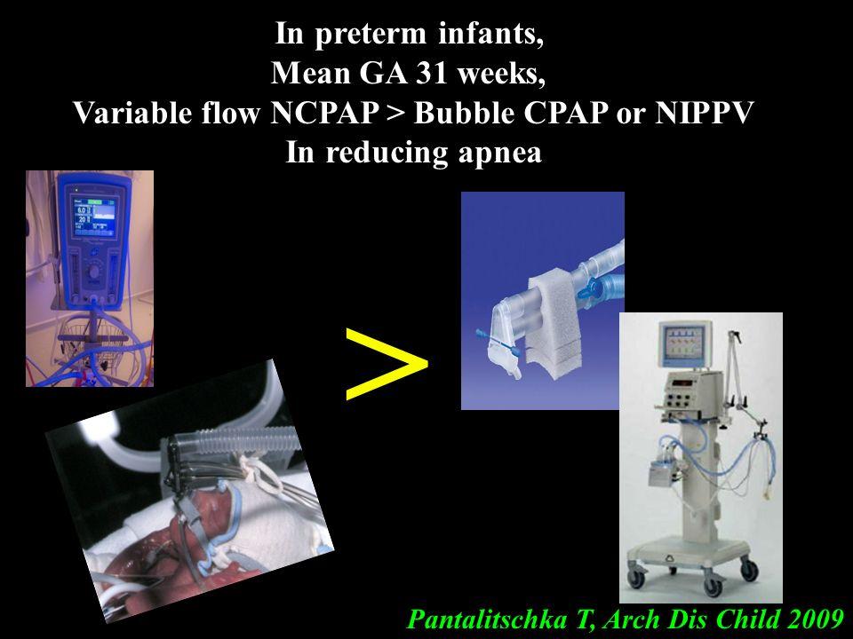 54 Pantalitschka T, Arch Dis Child 2009 In preterm infants, Mean GA 31 weeks, Variable flow NCPAP > Bubble CPAP or NIPPV In reducing apnea >