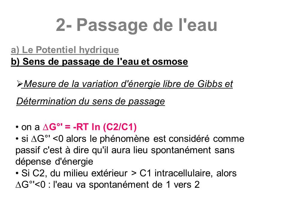 2- Passage de l'eau a) Le Potentiel hydrique b) Sens de passage de l'eau et osmose Mesure de la variation d'énergie libre de Gibbs et Détermination du