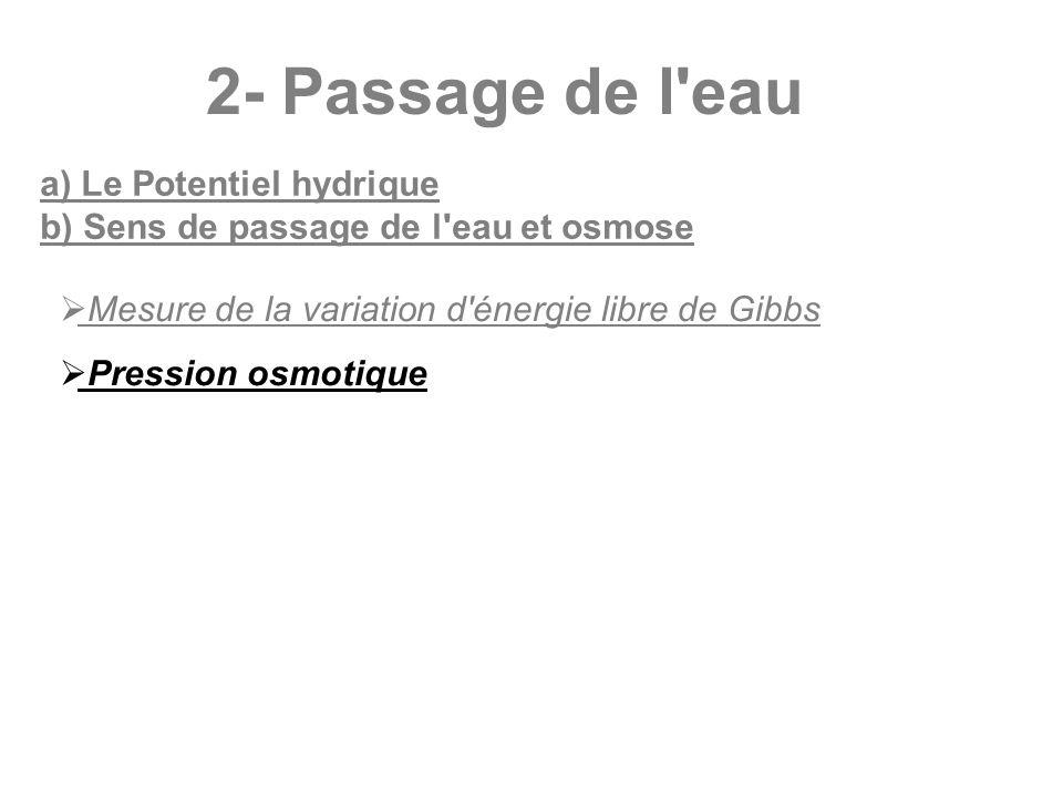 2- Passage de l'eau a) Le Potentiel hydrique b) Sens de passage de l'eau et osmose Mesure de la variation d'énergie libre de Gibbs Pression osmotique