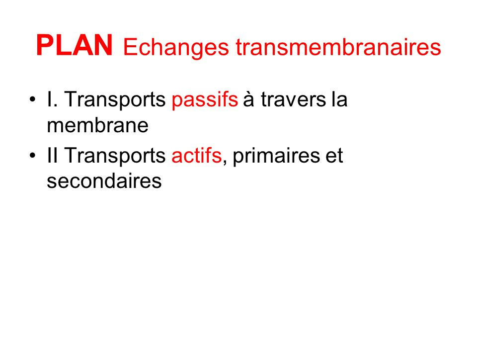 PLAN Echanges transmembranaires I.