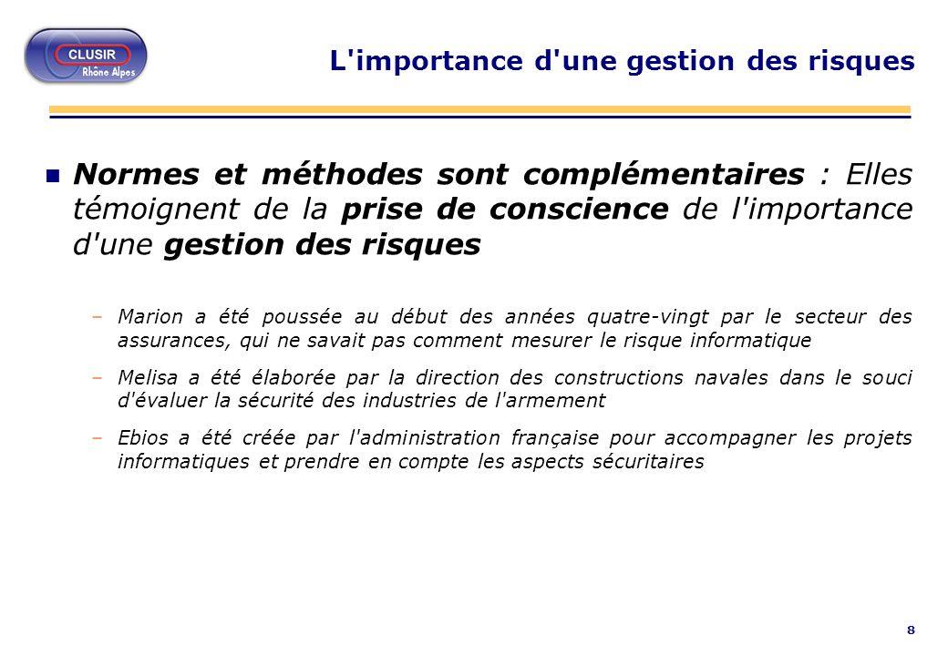 9 Pas de méthode sans norme Taux d utilisation des normes et méthodes d organisation et d évaluation de la sécurité du système d information dans les entreprises françaises - Etude 2002 du CIGREF sur la sécurité des systèmes d information