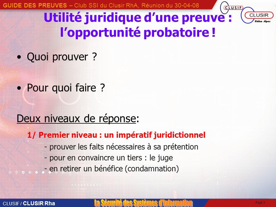 CLUSIF / CLUSIR Rha GUIDE DES PREUVES – Club SSI du Clusir RhA, Réunion du 30-04-08 Page 3 Utilité juridique dune preuve : lopportunité probatoire .