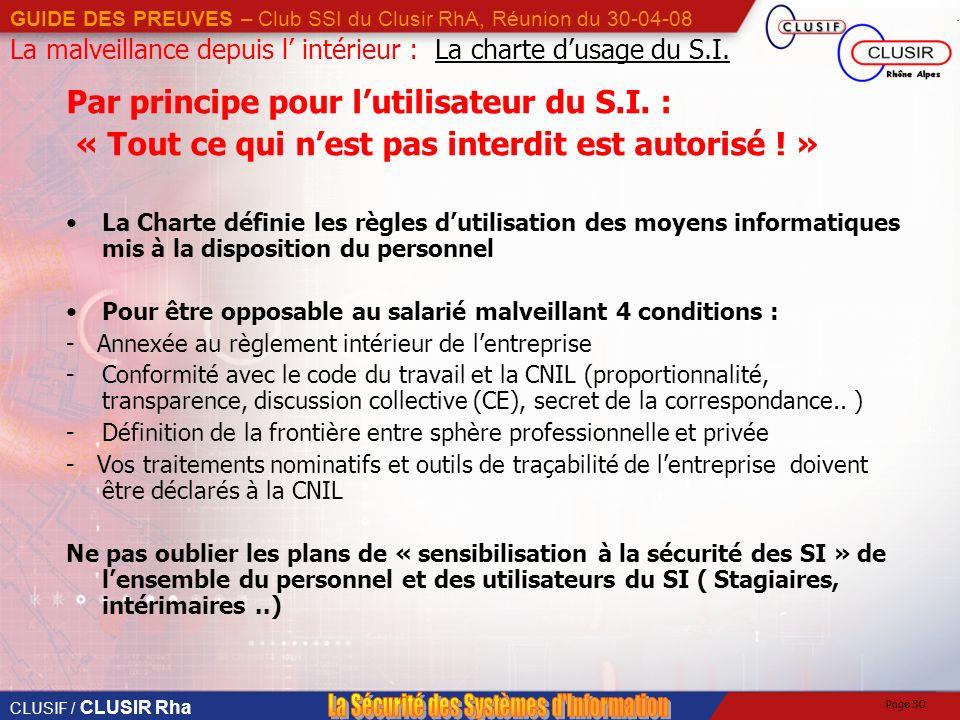 CLUSIF / CLUSIR Rha GUIDE DES PREUVES – Club SSI du Clusir RhA, Réunion du 30-04-08 Page 30 La malveillance depuis l intérieur : La charte dusage du S.I.