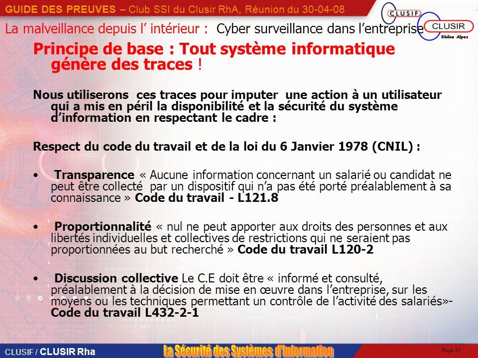 CLUSIF / CLUSIR Rha GUIDE DES PREUVES – Club SSI du Clusir RhA, Réunion du 30-04-08 Page 31 La malveillance depuis l intérieur : Cyber surveillance dans lentreprise Principe de base : Tout système informatique génère des traces .