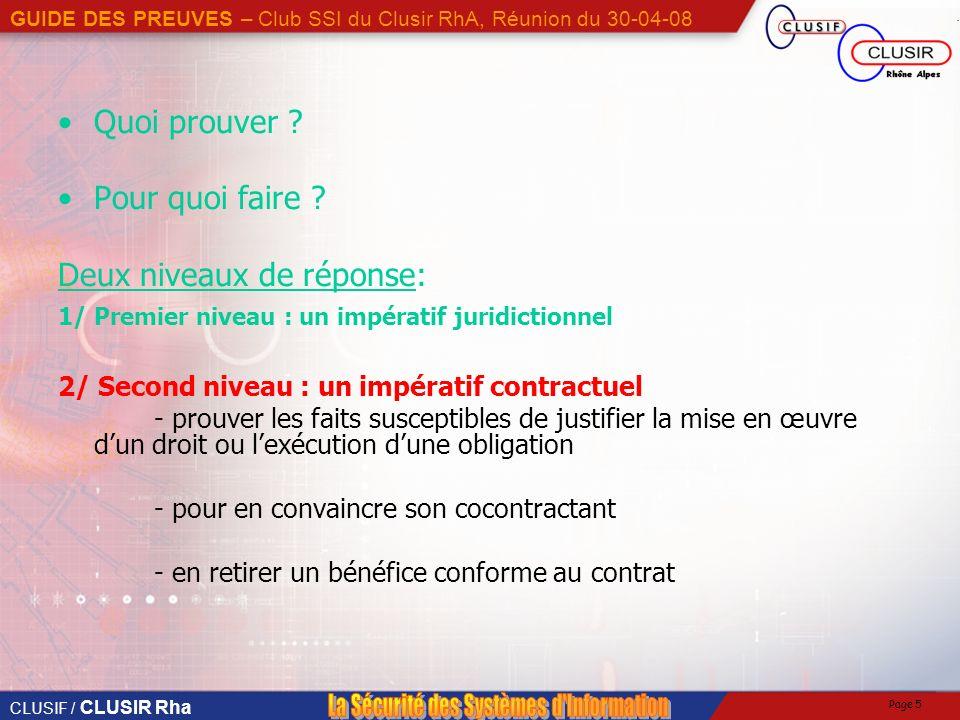 CLUSIF / CLUSIR Rha GUIDE DES PREUVES – Club SSI du Clusir RhA, Réunion du 30-04-08 Page 5 Quoi prouver .