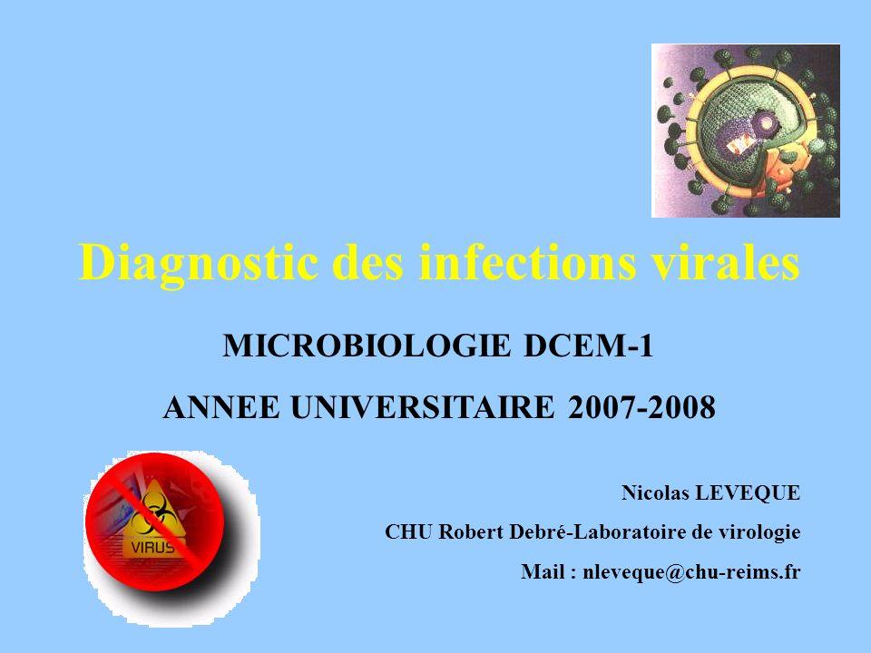 Diagnostic des infections virales MICROBIOLOGIE DCEM-1 ANNEE UNIVERSITAIRE 2007-2008 Nicolas LEVEQUE CHU Robert Debré-Laboratoire de virologie Mail :