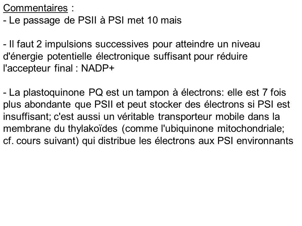 Commentaires : - Le passage de PSII à PSI met 10 mais - Il faut 2 impulsions successives pour atteindre un niveau d'énergie potentielle électronique s