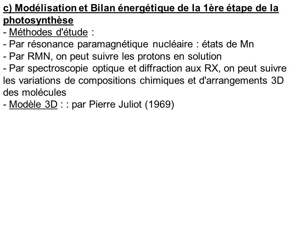 c) Modélisation et Bilan énergétique de la 1ère étape de la photosynthèse - Méthodes d'étude : - Par résonance paramagnétique nucléaire : états de Mn