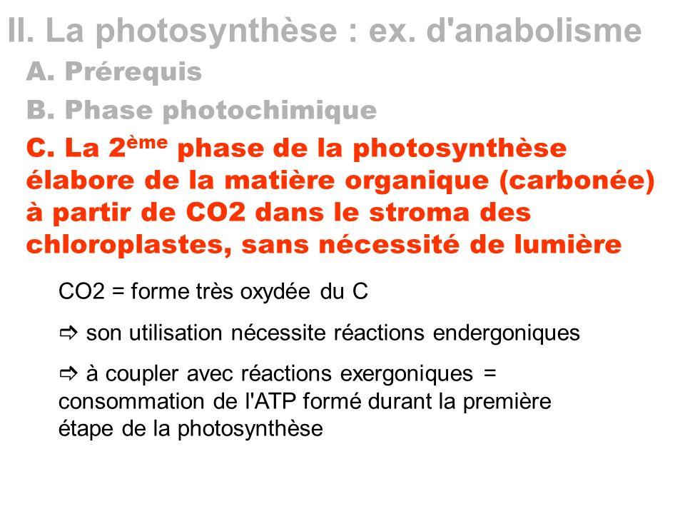 II. La photosynthèse : ex. d'anabolisme A. Prérequis B. Phase photochimique C. La 2 ème phase de la photosynthèse élabore de la matière organique (car