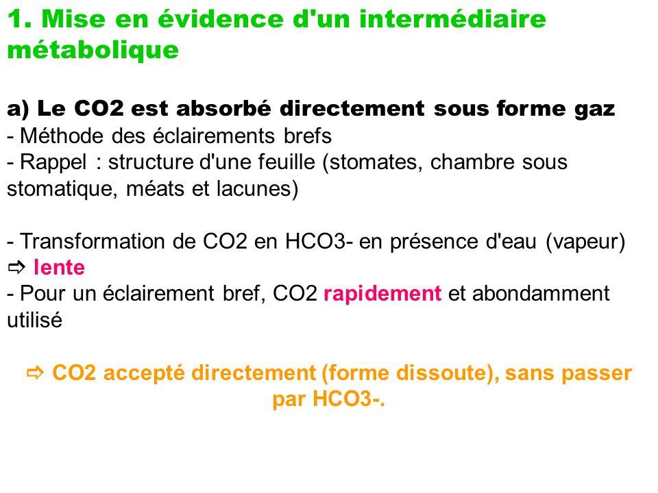 1. Mise en évidence d'un intermédiaire métabolique a) Le CO2 est absorbé directement sous forme gaz - Méthode des éclairements brefs - Rappel : struct