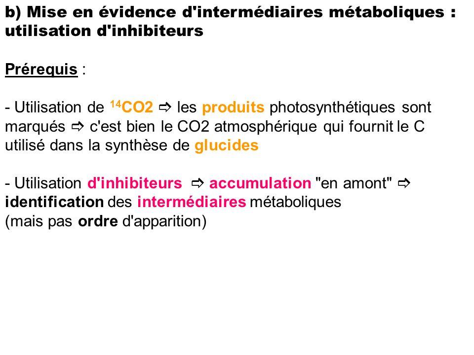 b) Mise en évidence d'intermédiaires métaboliques : utilisation d'inhibiteurs Prérequis : - Utilisation de 14 CO2 les produits photosynthétiques sont
