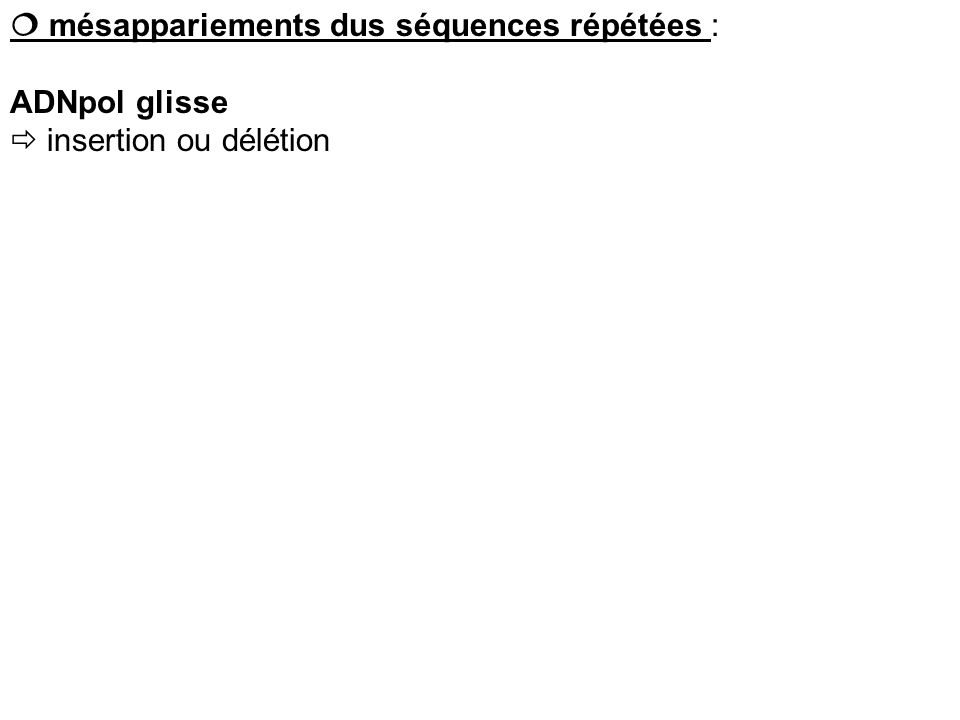 mésappariements dus séquences répétées : ADNpol glisse insertion ou délétion