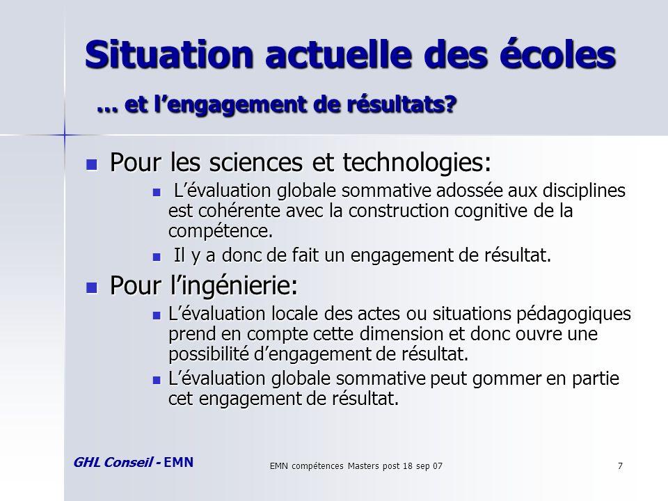 GHL Conseil - EMN EMN compétences Masters post 18 sep 077 Situation actuelle des écoles … et lengagement de résultats.