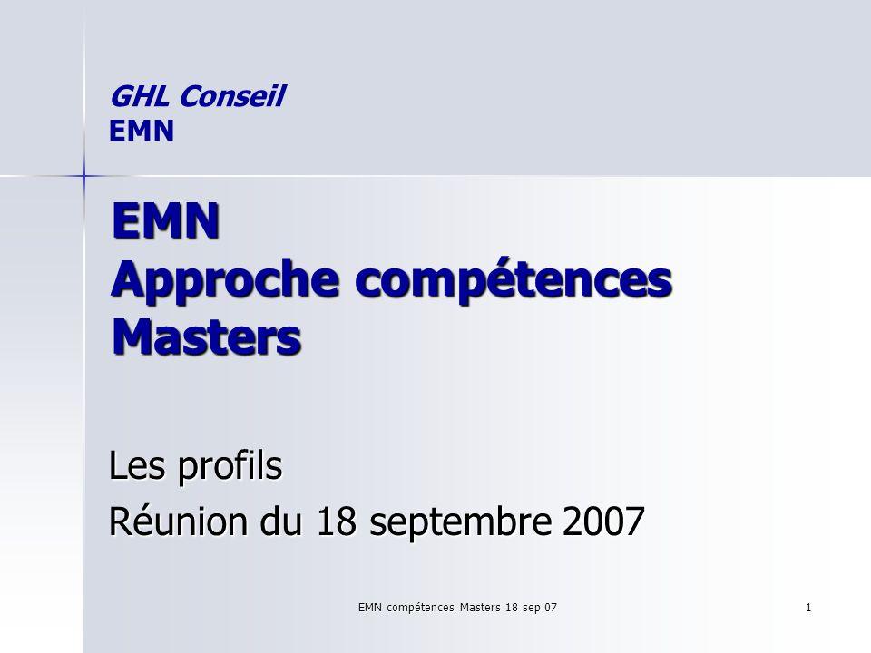 EMN compétences Masters 18 sep 07 1 EMN Approche compétences Masters Les profils Réunion du 18 septembre 2007 GHL Conseil EMN