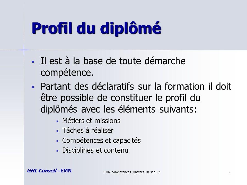 GHL Conseil - EMN EMN compétences Masters 18 sep 079 Profil du diplômé Il est à la base de toute démarche compétence.